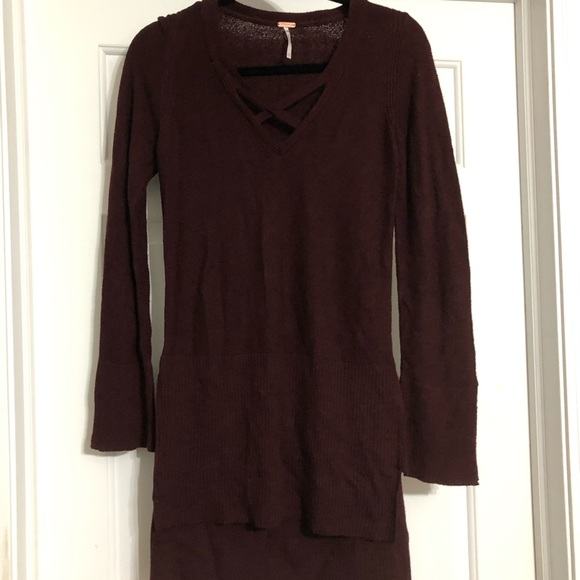 Free People Sweaters - Free People burgundy xs sweater tunic cross cross